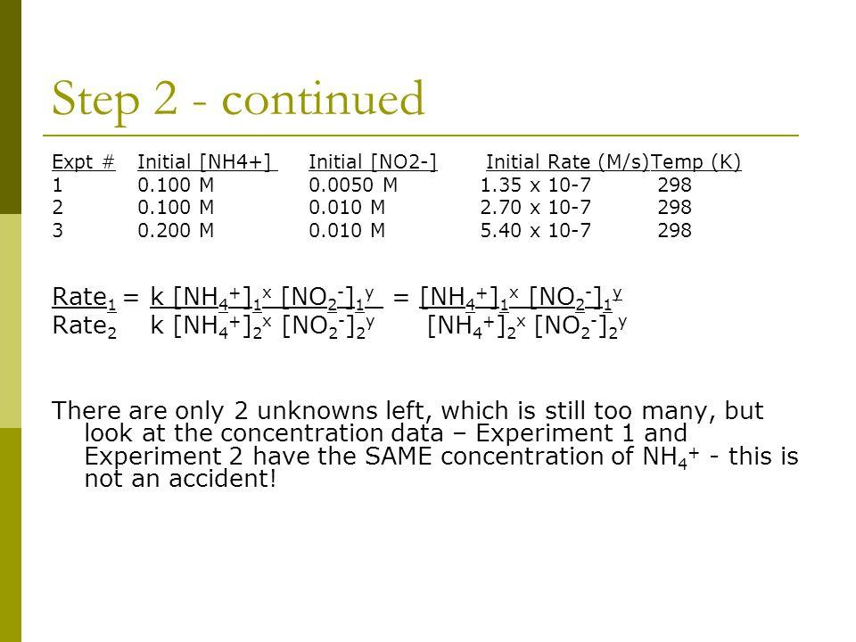 Step 2 - continued Rate1 = k [NH4+]1x [NO2-]1y = [NH4+]1x [NO2-]1y